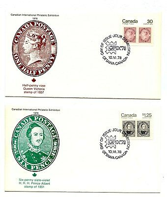 Canada FDC #755-56 Premium Fleetwood Covers Capex 1978 Stamps on Stamps G296
