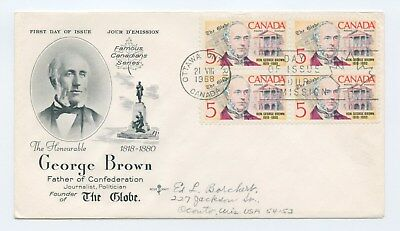 Canada FDC #484 Scarce Block of 4 George Brown  Politics Journalism G001