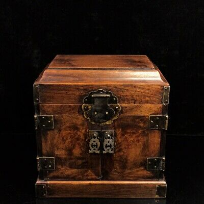 "10"" Chinese old antique huanghuali wood handmade jewelry box statue"