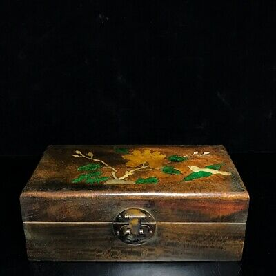 "10"" Chinese old antique huanghuali wood handmade Set Nut flowers and birds  box"