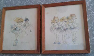 vintage Brownie Downing ballerina pics framed picture  x 2