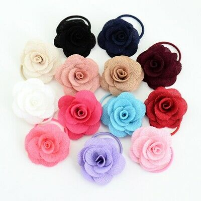 13Pcs Baby Girls Toddler Rose Flower Cloth Ropes Headband Hair Ponytail Holder