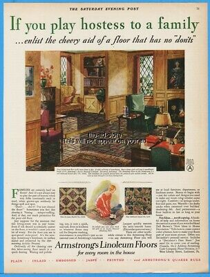 1929 Armstrong Linoleum Lancaster PA If You Play Hostess to a Family Print Ad