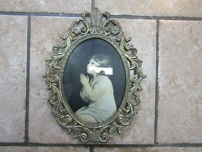 Vintage Ornate Metal Frame Picture Girl Praying Oval Convex Bubble Glass Italy