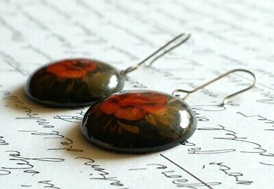 Vintage Hand Painted Lacquer Russian Earrings - Red and Gold Roses on Black