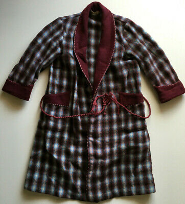 Vintage Onkaparinga Kids Dressing Gown Plaid Rockabilly Smokers Jacket