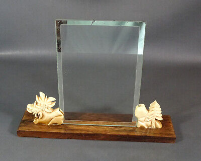 1930's Black Forest Wood Glass Photo Picture Frame Catalin Bakelite Edelweiss