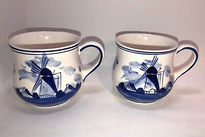Vintage lot of Two Delft Blue Holland Floral Windmill Hand Painted Teacup