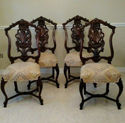 Vintage Carved Dining Chairs with Upholstered Seats - Set of 4