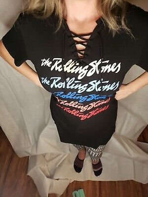 Offically THE ROLLING STONES womans L shirt. Vneck tie front. Pre owned