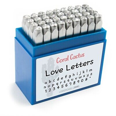"""Premium 36 Pc 3Mm Lowercase Metal Letter, Number, #, """", Stamp Punch Tool Set"""