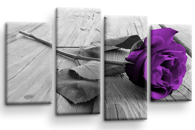 Floral Rose Wall Art Grey White Purple Flower Love Home Canvas Split Picture