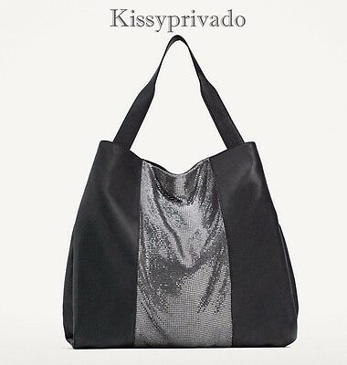 05408fab ZARA BLACK & Silver Chainmail Mesh Rock Large HUGE Tote Holiday ...