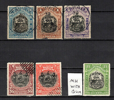 Malaya 1911 Straits Settlements North Borneo Complete Set To $10 Mh & Use Stamps