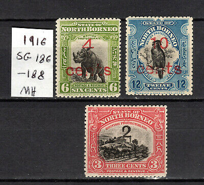 Malaya 1911 Straits Settlements North Borneo Complete Set Of Mh Stamps Mounted