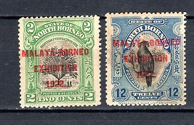Malaya 1922 Straits Settlements North Borneo Exhibition Mh Stamps Mounted Mint