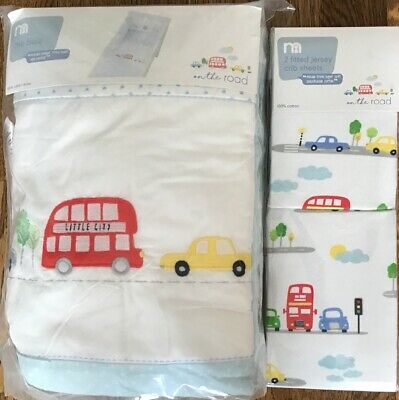 Mothercare On The Road Crib Bale And 2 Fitted Jersey Crib Sheets ** Bnip **