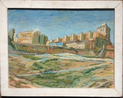 Ibiza Oil Painting Medieval Fortress Signed Antique Balearic Islands
