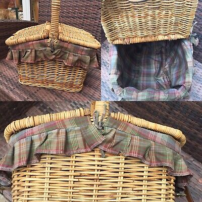 Mulberry Designer Picnic Basket Wicker Lined Flip Tops Country Outdoors