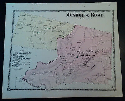 1871 Original Map: Monroe & Rowe MA Hand Colored Lithograph FW BEERS SALE