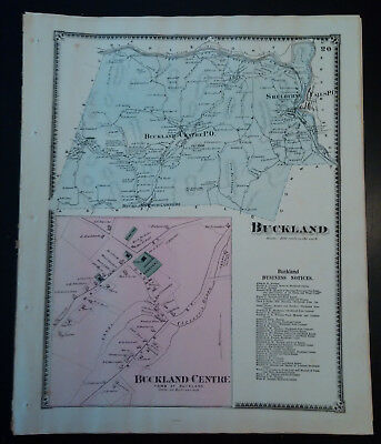 1871 Original Map: Buckland, MA Hand Colored Lithograph F.W. BEERS SALE