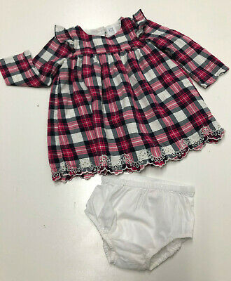 Baby Gap Girl Long Sleeves Plaid Dress & Diaper Cover-up 12-18 Months Lined Pink