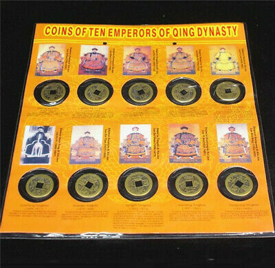 10Pcs Set Ten Emperors Coins Chinese Copper Coins Old Dynasty Antique Currency *