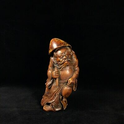 """8"""" Chinese old antique Bamboo wooden handcarved Zhong Kui Statue"""