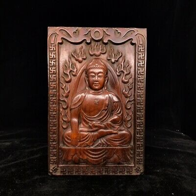 "12"" China old antique huanghuali wooden handcarved Buddha statue"