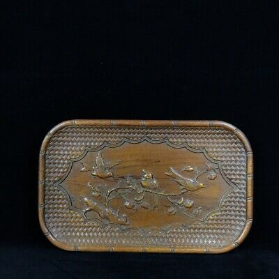 """11"""" China antique huanghuali wood handcarved flowers and birds tea plate statue"""