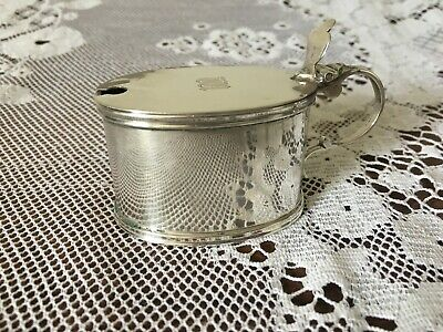 Sterling silver monogrammed mustard pot, George Unite and Sons, Birmingham 1922