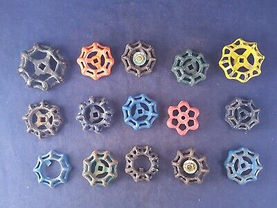 Lot of 15 Assorted  Vintage Cast Iron Spigot Handles Steampunk Salvage Art Deco