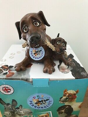 Pets With Personality 5512 Chocolate Labrador and Pup Dog Figurine
