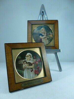 CHARMING pair of antique miniature oil portraits on panel GIRL holding Dog & Cat