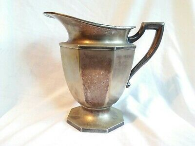 "1920's Sheffield Silverplate Octagon Sided Water Pitcher 8 1/2"" Tall"