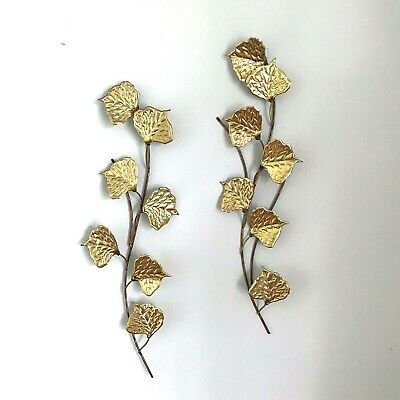 Vtg MCM Copper / Brass Wall Hanging Leaf Sculpture Mid Century Modern Aspen Leaf