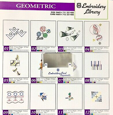 Geometric Embroidery Designs Card for Husqvarna Viking Embroidery Machines