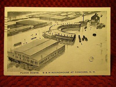 1936. Flood. B & M Roundhouse At Concord, New Hampshire. Postcard I3