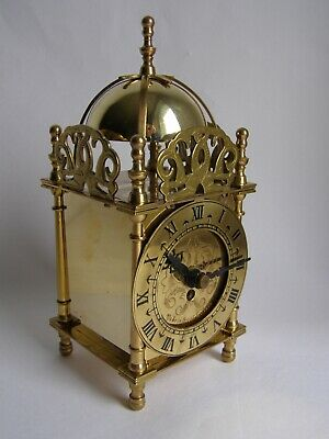 Vintage Smiths mechanical brass lantern clock - working, with key