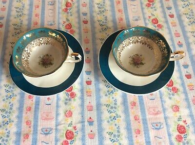Vintage Queens Bone China Turquoise / Blue Monarch Cup & Saucer