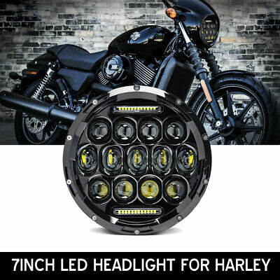 """7"""" LED Headlight Projector Halo Motorcycle fit Harley Dyna Cafe Racer Bobber"""
