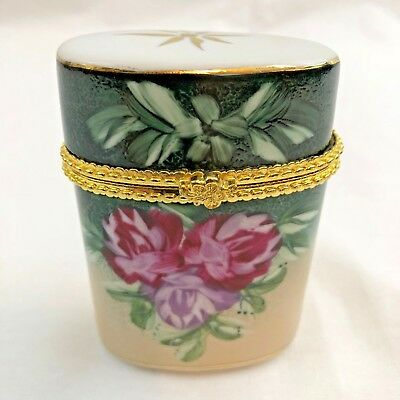 Baum Bros Hinged Trinket Box Formalities Hand Painted Glass Trimmed 10 KT Gold