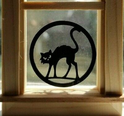 Miniature Dollhouse Halloween Window Decorations Arched Black Cat 1:12 Scale