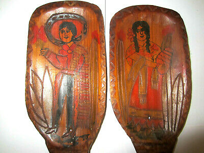 Vintage Mexican Folk Art Hand Carved & Painted Wooden Long Handle Serving Spoons