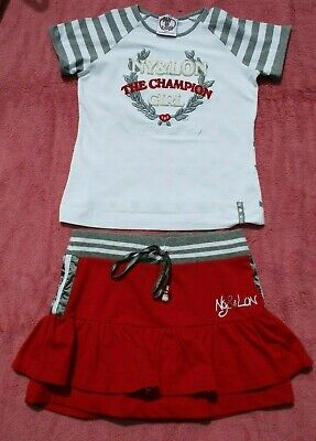 Pretty Red/White/Grey T Shirt & Skirt Outfit- Ny&Lon By Monnalisa - Size T8- 7-8