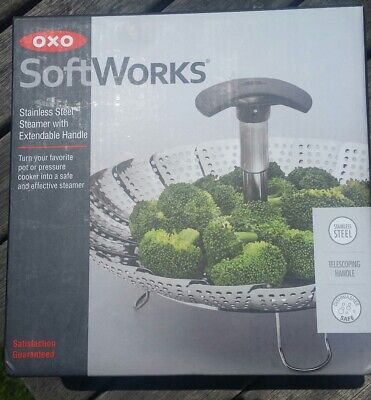 OXO SOFTWORKS  Stainless Steel Food Steamer with Extendable Handle NEW in box