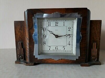 Vintage Wooden Enfield Art Deco Mantle Clock England + 29 on base not working