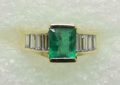 Vintage 18K Yellow Gold Colombian Emerald Diamond Ring Size 7.5 - Lb3022