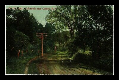 Us Postcard A Quiet Wooded Road To Norwich Near Oxford New York