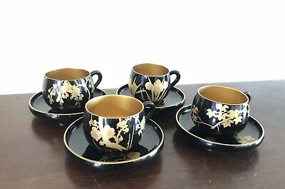Vintage Laquered Papier Mache Cup and Saucers